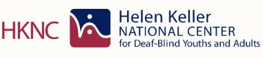 Helen Keller National Center for Deaf and Blind Youth and Adults Logo in red and blue