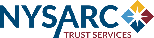 Stylized lettering spelling out NYSARC next to it a diamond in 4 colors, yellow, red, dark blue and light blue.  In the center is a star.  Underneath says Trust Services