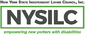 NYSILC Logo - Green Rectangle with NYSILC in bold block letters inside. On top New York State Independent Living Council, Inc. on the bottom tag line:  Empowering New Yorker's with disabilities.