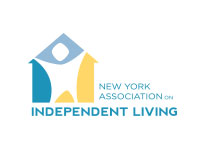 New York Association on Independent Living (NYAIL) - Drawing of frame of a house, person standing inside, arms raised in celebration