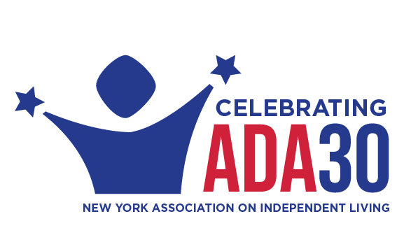 "A dark blue abstract depiction of a human torso from the NYAIL logo with arms raised and stars were the hands are located. The text to the right of the figure reads, ""Celebrating ADA 30"", with the words ADA in red and other text in dark blue. Text below reads, ""New York Association on Independent Living"""
